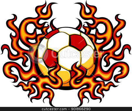 Soccer Template with Flames Vector Image stock vector clipart, Graphic Soccer vector image template with flames by chromaco
