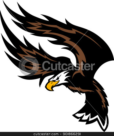 Flying Eagle Wings Mascot Design stock vector clipart, Graphic Mascot Image of a Eagle with Flying Wings by chromaco
