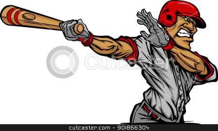 Cartoon Baseball Player Swinging Bat Design stock vector clipart, Baseball Cartoon of a Baseball Hitter Swinging Bat by chromaco