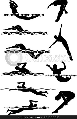 Swimming & Diving Male Silhouettes stock vector clipart, Male Swimming and Diving Silhouettes Vector Images  by chromaco