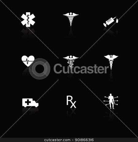 Medical icons white on black with reflections stock vector clipart, Medical icons white on black with reflections. by lkeskinen