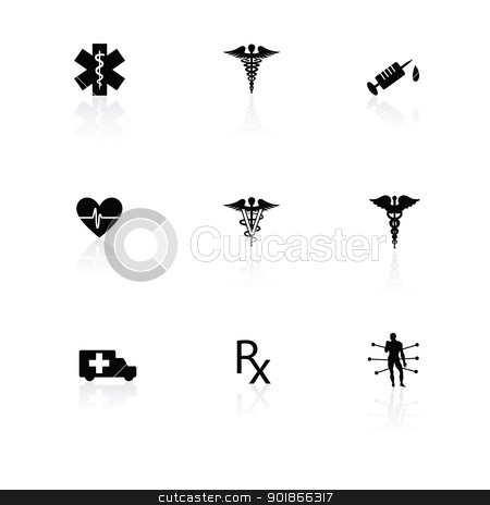 Medical icons black on white with reflections stock vector clipart, Medical icons black on white with reflections. by lkeskinen