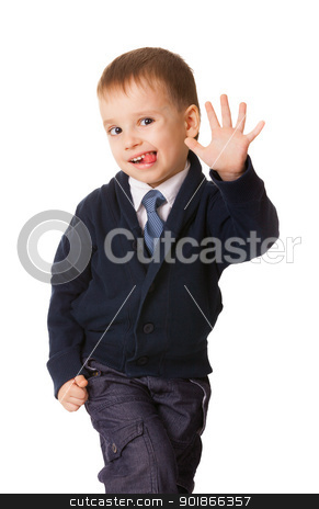 Funny small boy pull humorous faces stock photo, Funny small boy pull humorous faces, isolated on white background by Iryna Rasko