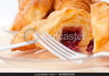 croissant French brioche filled with berries jam stock photo, fresh baked croissant French brioche filled with berries jam by Francesco Perre