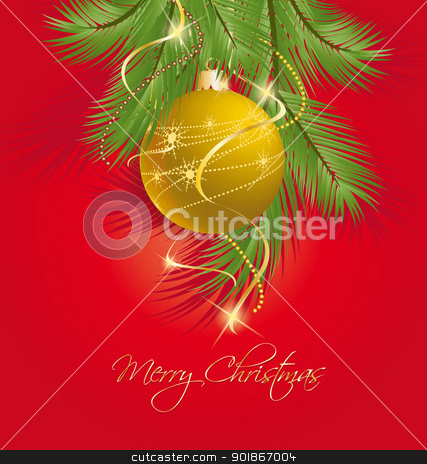 Christmas background stock vector clipart, Christmas ball on green spruce branch  by Miroslava Hlavacova