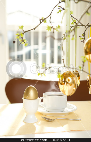 Sunny Easter morning stock photo, Sunny easter morning. Gold decorated Easter egg by Instudio 68