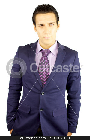 Cool young businessman thinking stock photo, handsome businessman with pink suit thinking and looking by federico marsicano