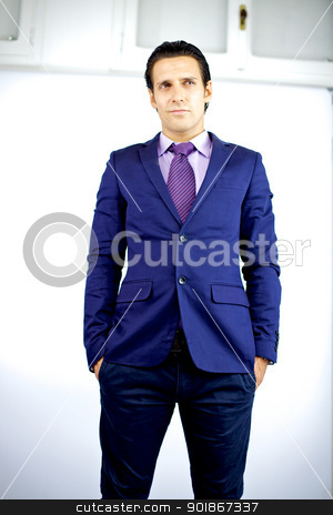 Handsome businessman thinking stock photo, attractive young cool businessman thinking standing by federico marsicano