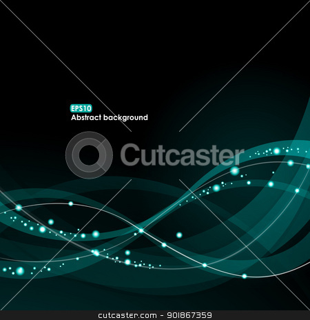 EPS10 glowing waves background stock vector clipart, Abstract EPS10 vector glowing waves on the dark background by Allaya