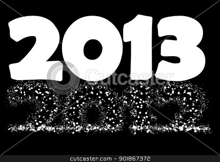Happy new year 2013 stock photo, 2013 New Year's Eve greeting card  as a alpha mask by p.studio66