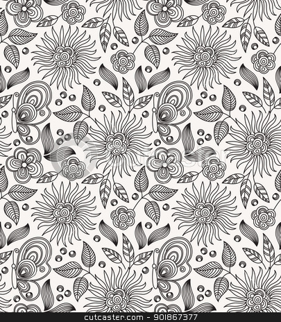 Decoration Flowers Drawings Decorative Flower Seamless