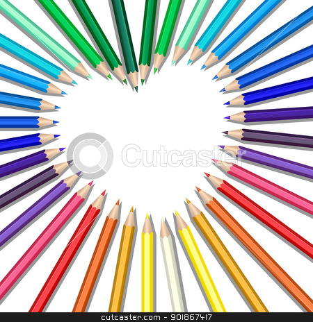 colored pencils heart stock vector clipart, Colored pencils in a heart shape by Laurent Renault
