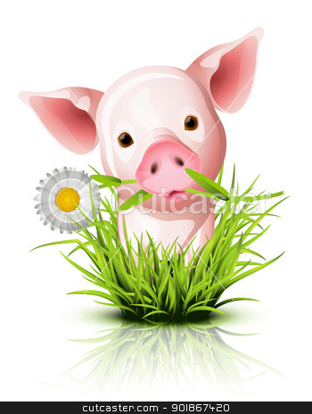 Little pink pig in grass stock vector clipart, Little pink pig in green grass by Laurent Renault