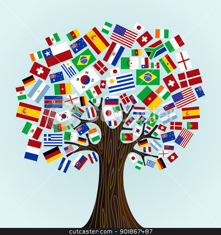 Flags of the world tree stock vector clipart flags of the world tree