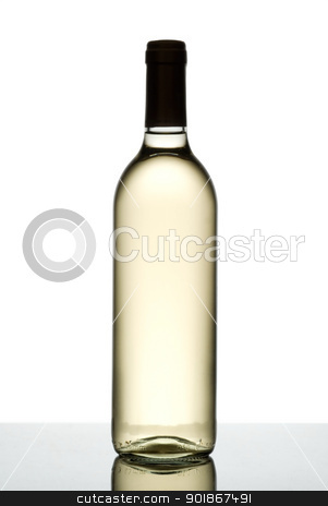 Bottle of white wine. stock photo, Bottle of white wine isolated on white. by Piotr Skubisz