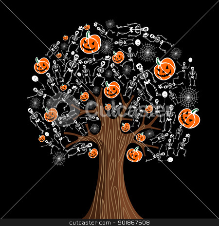 Halloween icons tree stock vector clipart, Halloween tree icons background. Vector illustration layered for easy manipulation and custom coloring. by Cienpies Design