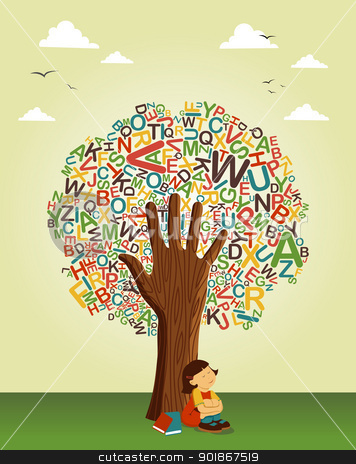Learn to read at school education tree hand stock vector clipart, Back to schoo concept tree. Learn to read collaborative education. Vector file layered for easy manipulation and custom coloring. by Cienpies Design
