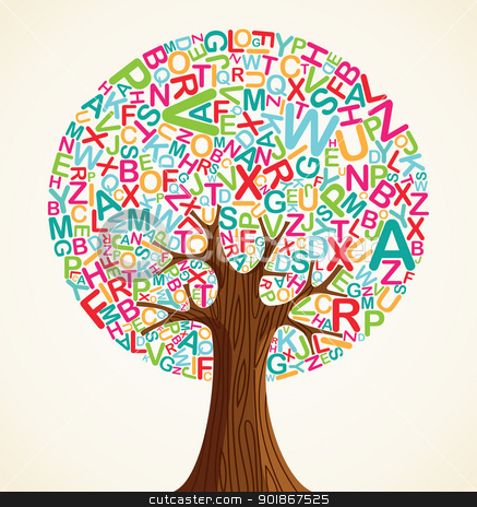 School education concept tree stock vector clipart, School education concept tree made with letters. Vector file layered for easy manipulation and custom coloring. by Cienpies Design