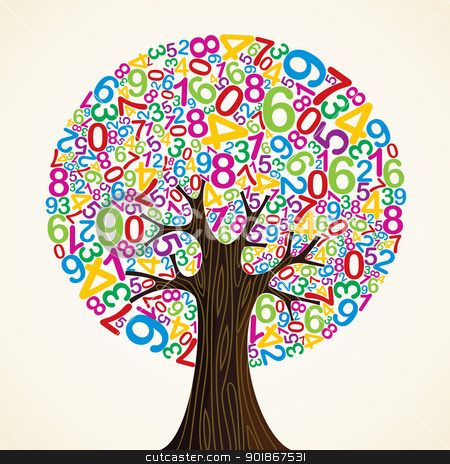 School education concept tree stock vector clipart, School education concept tree made with numbers. Vector file layered for easy manipulation and custom coloring. by Cienpies Design