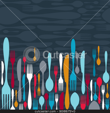 Cutlery silhouette icons background  stock vector clipart, Multicolored cutlery icons pattern background. Vector illustration layered for easy manipulation and custom coloring. by Cienpies Design
