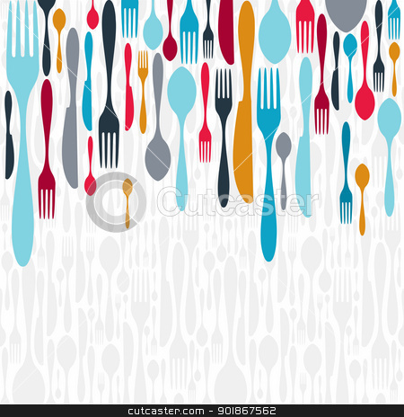 Cutlery silhouette icons background  stock vector clipart, Multicolored cutlery icons background. Vector illustration layered for easy manipulation and custom coloring. by Cienpies Design