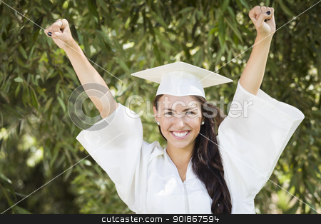 Happy Graduating Mixed Race Girl In Cap and Gown stock photo, Attractive Smiling Mixed Race Girl Celebrating Graduation Outside In Cap and Gown. by Andy Dean