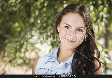 Attractive Mixed Race Girl Portrait stock photo, Attractive Smiling Mixed Race Girl Portrait Outdoors. by Andy Dean