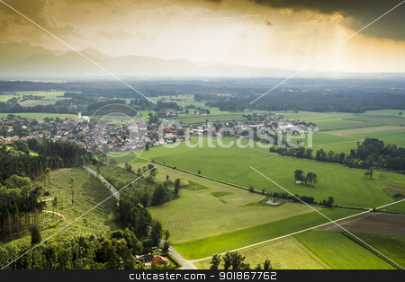 panoramic aerial view Bavaria stock photo, An image of a panoramic aerial view Bavaria by Markus Gann