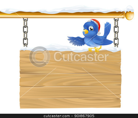 Bluebird Christmas sign stock vector clipart, Bluebird Christmas sign illustration. A cute bluebird wearing a Santa Christmas hat showing what the sign says by pointing its wing.  by Christos Georghiou