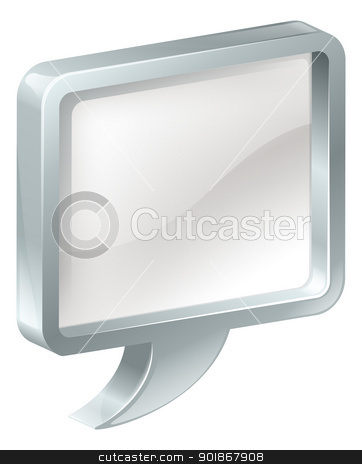 Speech bubble stock vector clipart, Illustration of a speech bubble with metal surround by Christos Georghiou