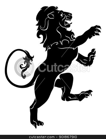 Heraldic rampant lion stock vector clipart, Illustration of a heraldic rampant lion on hind legs, like those found on a coat of arms by Christos Georghiou