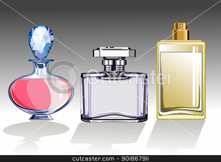 Set of perfume bottles stock vector clipart, Three glass perfume or eau de toilette bottles. Vector illustration by Ela Kwasniewski