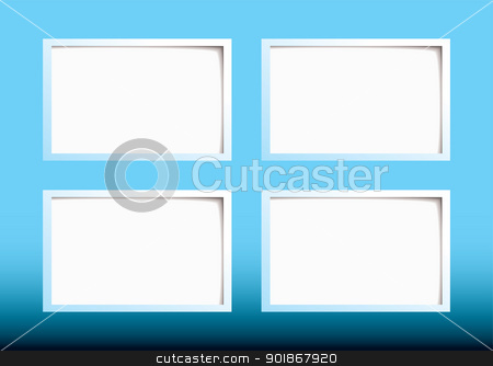 Paper tag background stock vector clipart, Blue background with paper tag and shadows around the edge by Michael Travers
