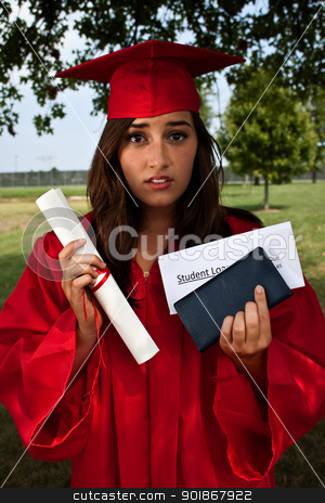 Student Loan stock photo, Graduate holding diploma, checkbook and student loan bill. This is a conceptual image about student loans and debt. by Stephanie Zieber