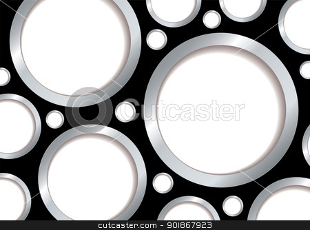 Silver bubble background stock vector clipart, Bubble background with silver rim and black backdrop and copyspace by Michael Travers