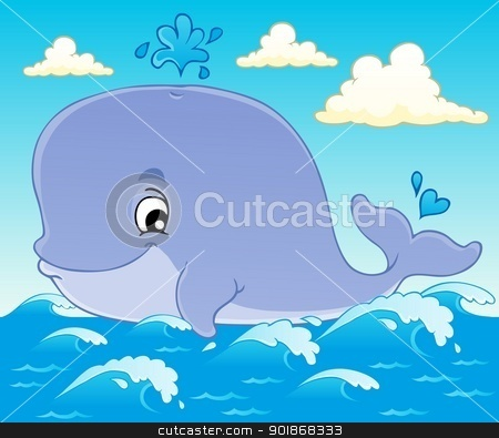 Whale theme image 1 stock vector clipart, Whale theme image 1 - vector illustration. by Klara Viskova