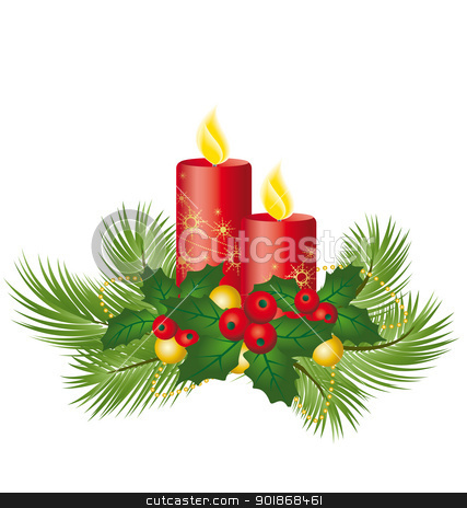 Christmas candles stock vector clipart, decorative Christmas candles on a white background by Miroslava Hlavacova