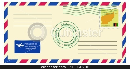 letter to/from Afghanistan stock vector clipart, letter to/from Afghanistan by Oleksandr Kovalenko