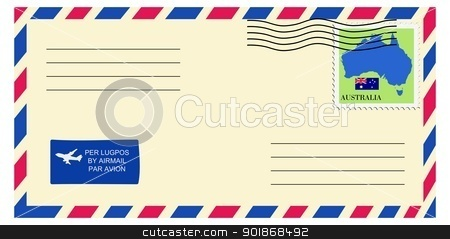 letter to/from Australia stock vector clipart, letter to/from Australia by Oleksandr Kovalenko