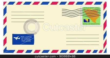letter to/from Bosnia and Herzegovina stock vector clipart, letter to/from Bosnia and Herzegovina by Oleksandr Kovalenko