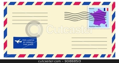 letter to/from France stock vector clipart, letter to/from France by Oleksandr Kovalenko