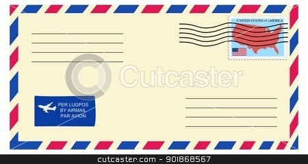 letter to/from United States stock vector clipart, letter to/from United States by Oleksandr Kovalenko