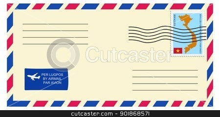 letter to/from Vietnam stock vector clipart, letter to/from Vietnam by Oleksandr Kovalenko