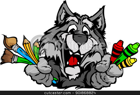 Happy Preschool Wolf Mascot Cartoon Vector Image stock vector clipart, Kindergarten School Wolf with crayons and paint brushes, and art supplies in Paws Smiling Mascot Vector Illustration by chromaco