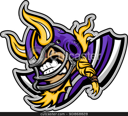 Viking Football Mascot Wearing Helmet with Horns Vector Illustra stock vector clipart, Graphic Vector lmage of a Viking Football Mascot with Horns on Football Helmet by chromaco