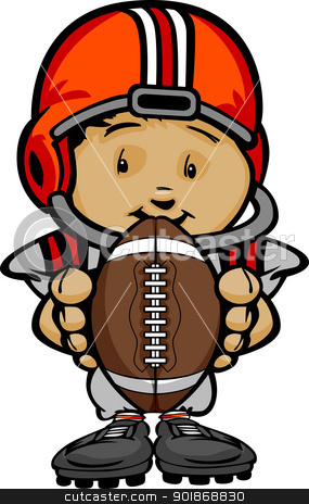 Smiling Football Kid with Helmet holding Ball  Vector Cartoon Il stock vector clipart, Cartoon Vector Illustration of a Cute Kid Football Player with Hands holding Ball by chromaco