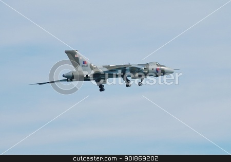 Avro Vulcan B.Mk2 bomber aircraft stock photo, Avro Vulcan B.Mk2, XH558, performs at the Airbourne airshow at Eastbourne in East Sussex, England on August 11, 2012. Built in 1960 it is the last airworthy Vulcan. by newsfocus1