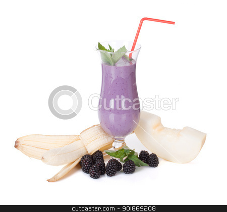 smoothie with banana blackberry melon and fresh mint  stock photo, smoothie with banana blackberry melon and fresh mint  by Alexander Tarasov