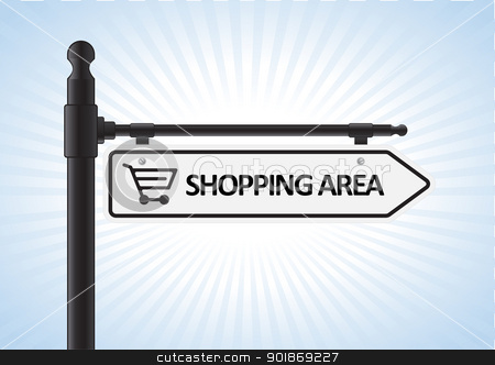 Shopping Sign stock vector clipart, This image is a vector illustration representing a shopping direction sign what can be scaled to any size without loss of resolution.  by Bagiuiani Kostas