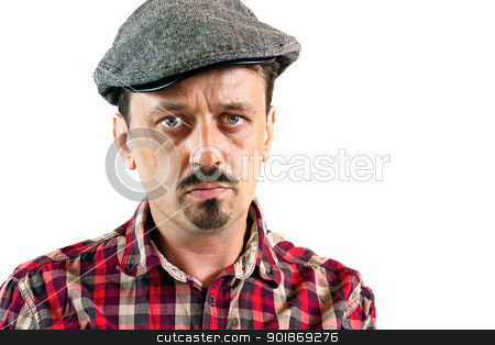 Man with a cap stock photo, Closeup portrait of a young man man wearing a cap, isolated on white background by tristanbm